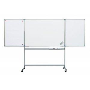 63381-84 - Tableau blanc tryptique mobile, 100x150 cm (dim. fermé), coloris gris