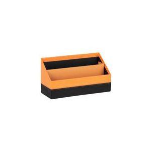 118840C - Porte-courrier Orange&Black, simili cuir orange, 2 compartiments