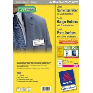4820 - 50 badges combi pince métal + épingle, format 54 x 90 mm, plastique souple transparent + 50 inserts microperforés imprimables (5 feuilles / cdt)