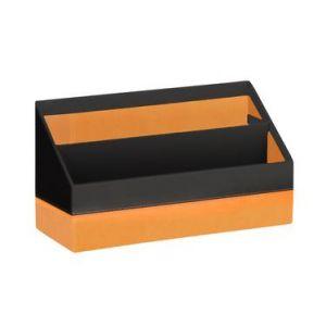 118846C - Porte-courrier Orange&Black, simili cuir noir, 2 compartiments