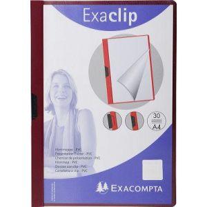 437823B - Chemise de présentation EXA-CLIP, format A4 dos 3mm, PVC, coloris bordeaux