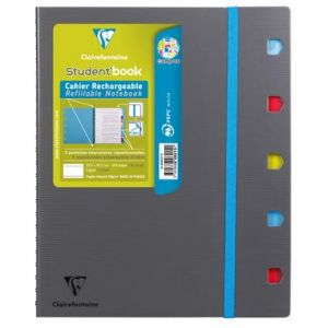808215C - Cahier Campus Student'Book 225x297, 160p./80 feuilles détachables 90 g/m² reliure intégrale, couv. polypro mousse, quadrillé ligné 8mm + marge cadré