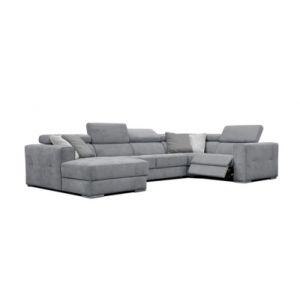 Canapé d'angle U gauche relax convertible QUARTZ tissu Castle gris moyen 168