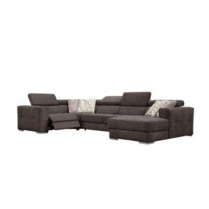 Canapé d'angle U convertible relax droit QUARTZ tissu marron