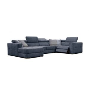 Canapé d'angle U gauche relax convertible QUARTZ tissu Castle bleu nuit 48