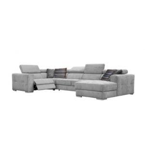 Canapé d'angle U convertible relax droit QUARTZ tissu gris clair