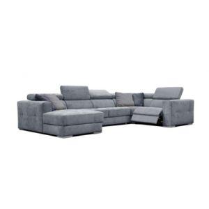 Canapé d'angle U gauche relax convertible QUARTZ tissu Castle bleu horizon 153