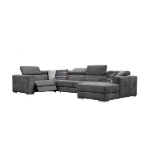 Canapé d'angle U convertible relax droit QUARTZ tissu gris foncé