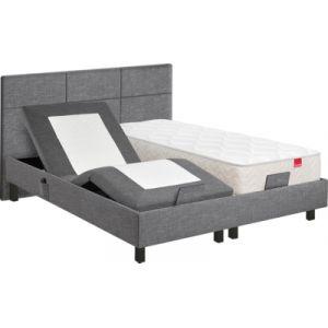 Sommier relaxation 2x80x200 cm EPEDA ZEN tissu gris anthracite