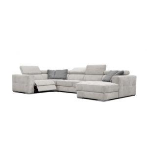 Canapé d'angle U droit relax convertible QUARTZ tissu Castle gris clair 60