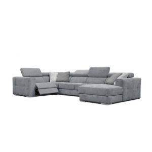 Canapé d'angle U droit relax convertible QUARTZ tissu Castle gris moyen 168