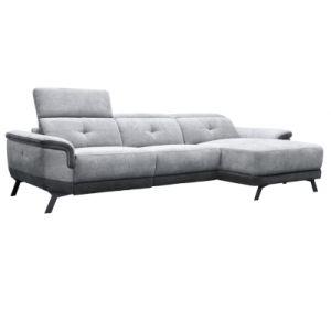 Canapé méridienne droite relax électrique STYLSON tissu métal et gris foncé