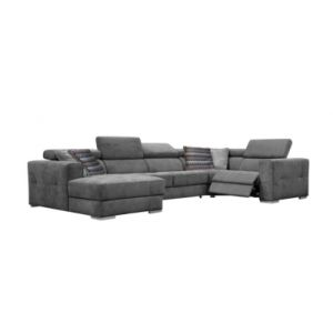 Canapé d'angle U convertible relax gauche QUARTZ tissu gris foncé