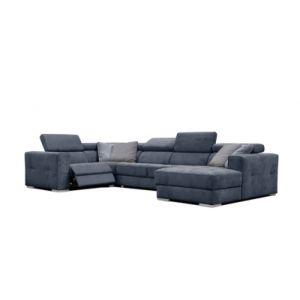 Canapé d'angle U droit relax convertible QUARTZ tissu Castle bleu nuit 48