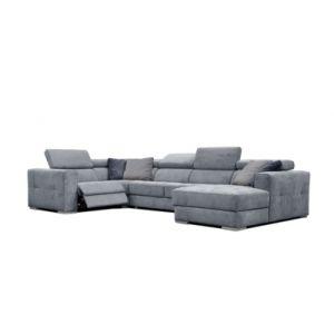 Canapé d'angle U droit relax convertible QUARTZ tissu Castle bleu horizon 153