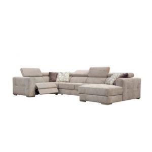 Canapé d'angle U convertible relax droit QUARTZ tissu beige