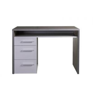 Bureau 3 tiroirs MIPIACE Imitation béton et blanc