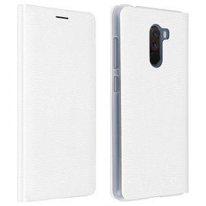 Housse Xiaomi Pocophone F1 Étui Portefeuille Clapet Flip Cover Ultra-fin - blanc