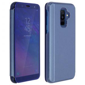 Coque Samsung A6 Plus 2018, Housse Étui Miroir Flip Avec Stand Fonction Protection Cover Pour Galaxy A6 Plus 2018 - Bleu Marine