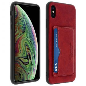 Coque Apple iPhone XS Max Protection Antichocs Porte-carte Stand Vidéos Rouge