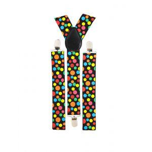 Bretelles de clown à points multicolores