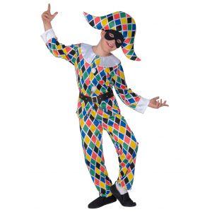 Déguisement arlequin multicolore enfant - Taille: 8-10 ans (140 cm)