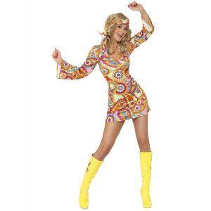 Déguisement hippie motifs colorés femme - Taille: M