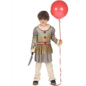 Déguisement clown terrifiant gris garçon - Taille: XL 13-14 ans (140-160 cm)