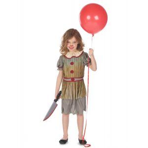 Déguisement clown terrifiant gris fille - Taille: XL 13-14 ans (140-160 cm)
