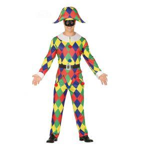 Déguisement arlequin multicolore homme - Taille: M (48-50)
