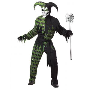 Déguisement d'Arlequin diabolique vert homme Halloween - Taille: M
