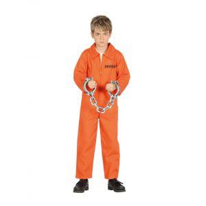Déguisement prisonnier orange garçon - Taille: 7 à 9 ans (125-135 cm)