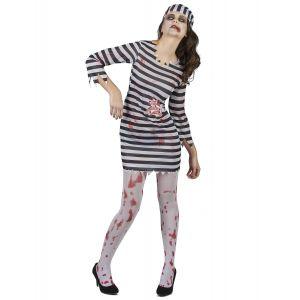 Déguisement effrayant prisonnière zombie femme - Taille: M