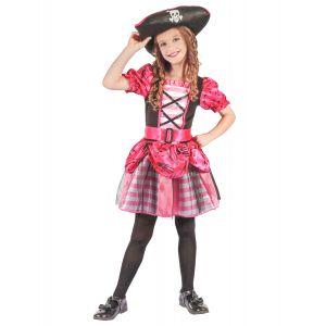 Déguisement corsaire pirate rose fille - Taille: M 7-9 ans (120-130 cm)