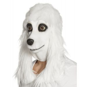 Masque latex caniche blanc adulte
