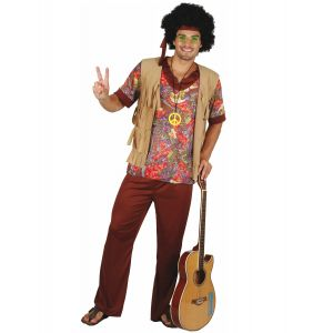 Déguisement hippie motif rouge homme - Taille: L