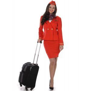Déguisement Hôtesse de l'air rouge femme - Taille: XS