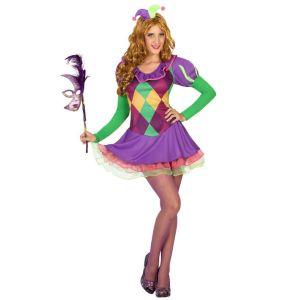 Déguisement arlequin violet femme - Taille: M / L
