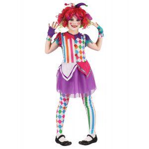 Déguisement arlequine colorée fille - Taille: L 10-12 ans (130-140 cm)