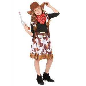 Déguisement cowboy de l'ouest fille - Taille: M 7-9 ans (120-130 cm)