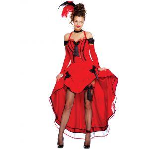 Déguisement cancan rouge avec noeuds noirs femme - Taille: M (38-40)