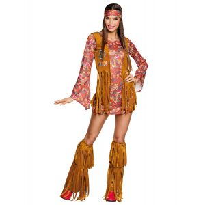 Déguisement hippie Peace à franges femme - Taille: S/M