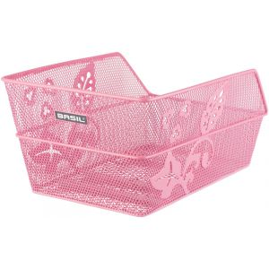 Basil Cento Flower Rear Wheel Basket fine-meshed, pink Paniers pour porte-bagages