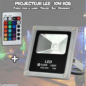 Projecteur LED étanche 10W, Extérieure, Multicolore, Télécommande