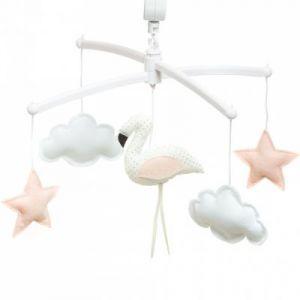 Mobile musical flamant rose et blanc (7 mélodies au choix) Pouce et Lina