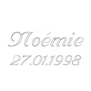 Gravure prénom + date sur médaille (Typo 6 Vanessa)