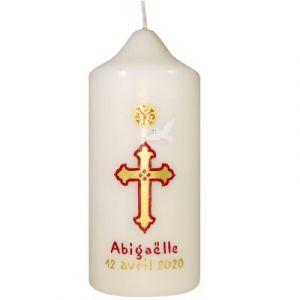 Cierge de baptême ou communion personnalisable peint à la main Croix rouge et dorée Pascale Belenfant Chauveau