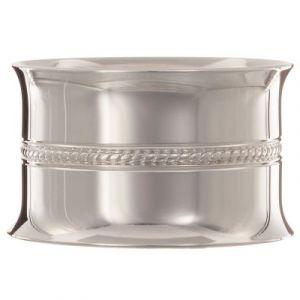 Rond de serviette Perles tressées personnalisable (métal argenté) dans son coffret Daniel Crégut