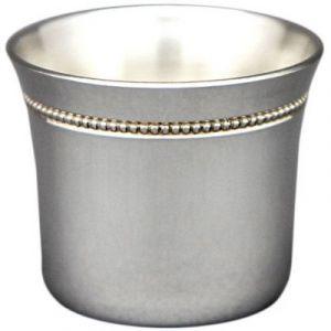 Coquetier évasé perles personnalisable (Métal argenté) Aubry Cadoret