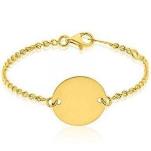 Gourmette médaille ronde personnalisable (or jaune 750°) A.Augis